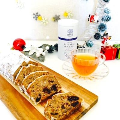 【2020・ご予約品】上質なグルテンフリーのクリスマスティータイム|小麦粉不使用のシュトーレンと国産オーガニックティー(缶)のセット|乳製品・保存料・アルコールフリー