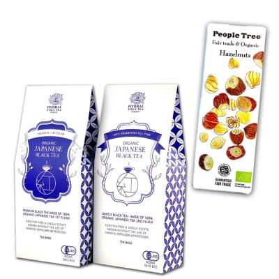 【ギフト】国産オーガニック紅茶2種とフェアトレード&オーガニックチョコレートのセット プレミアム春摘み&夏摘み ティーバッグタイプ ラッピング済み Japanese Organic Black Tea Set (First Flush & Second Flush) Teabags