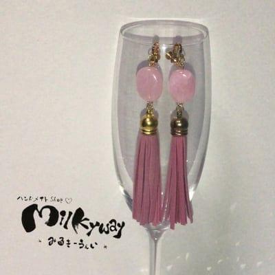 現品限り♡フリンジ&大理石風ビーズ♡ピアスorイヤリング