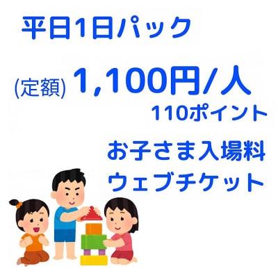 平日1日パック入場チケット/1,100円/人【お子さま用】