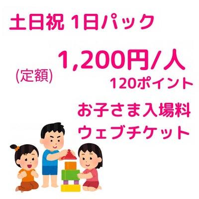 土日祝限定1日パック入場チケット/800円/人【お子さま用】