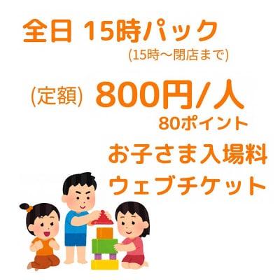 15時〜閉店まで‼︎15時パック入場チケット/800円/人【お子さま用】