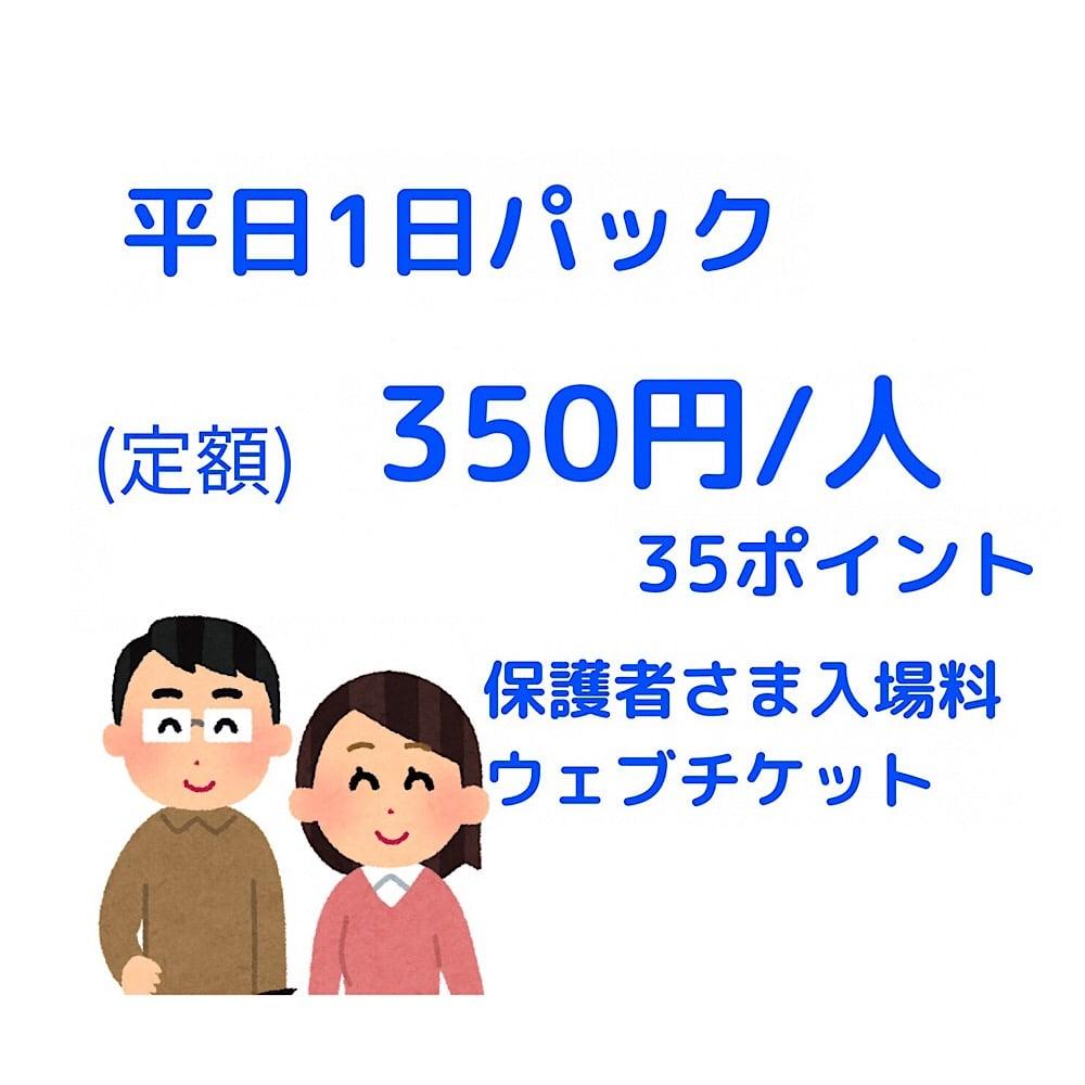 【保護者さま用】平日1日パック入場チケット/1,100円/人のイメージその1