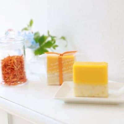 【カレンデュラと柑橘系の香り】オレンジカレンデュラソープ(洗顔石けん)
