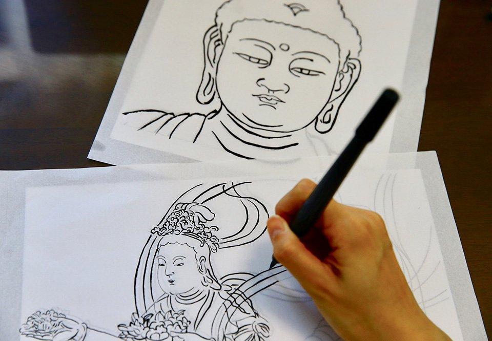 【予約制・店頭払いのみ】写仏体験 下絵をなぞる「写仏」で仏教文化を体験のイメージその1