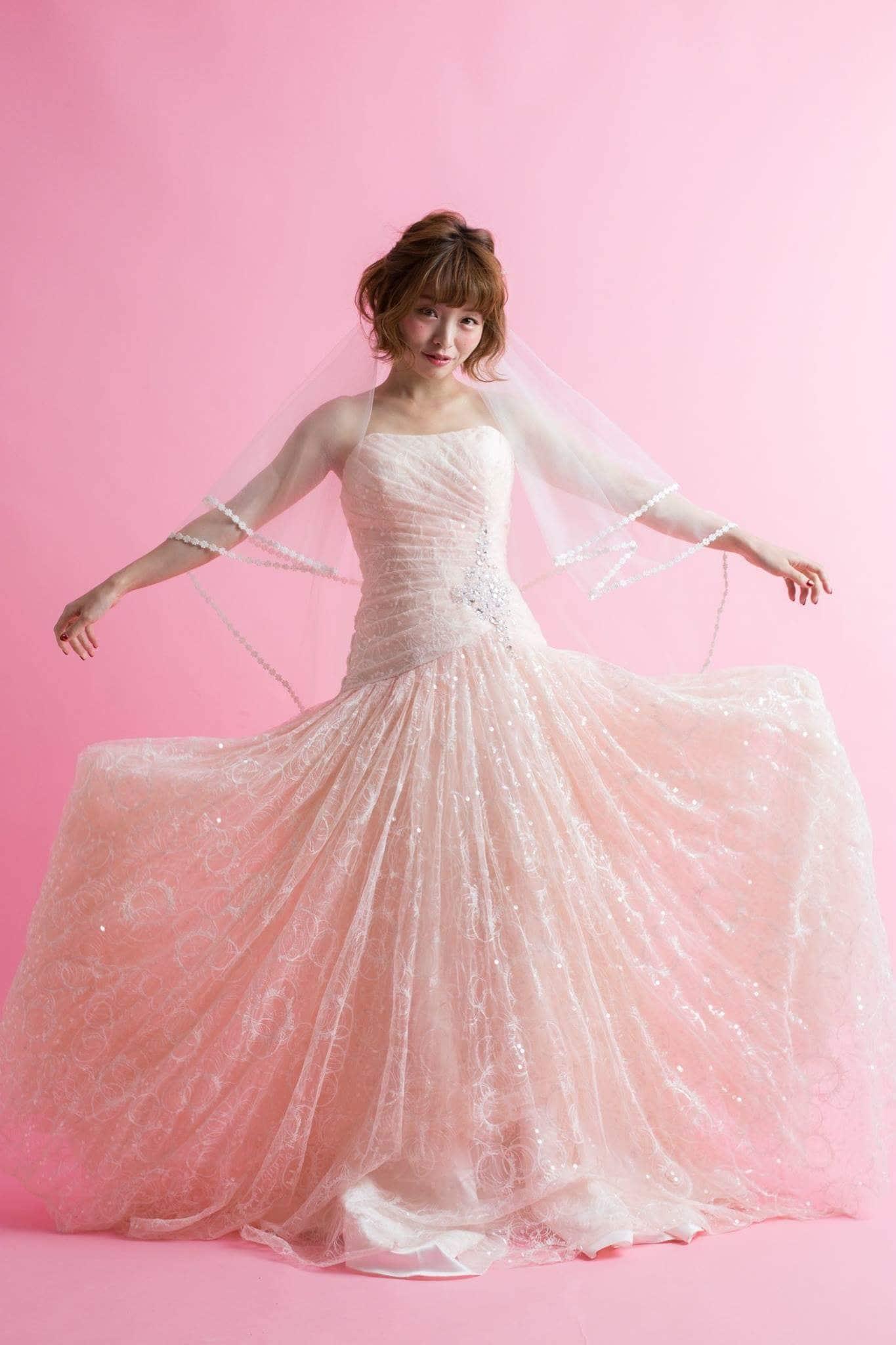 レンタルウエディングドレス(シャーリーナチュラルピンク)のイメージその2