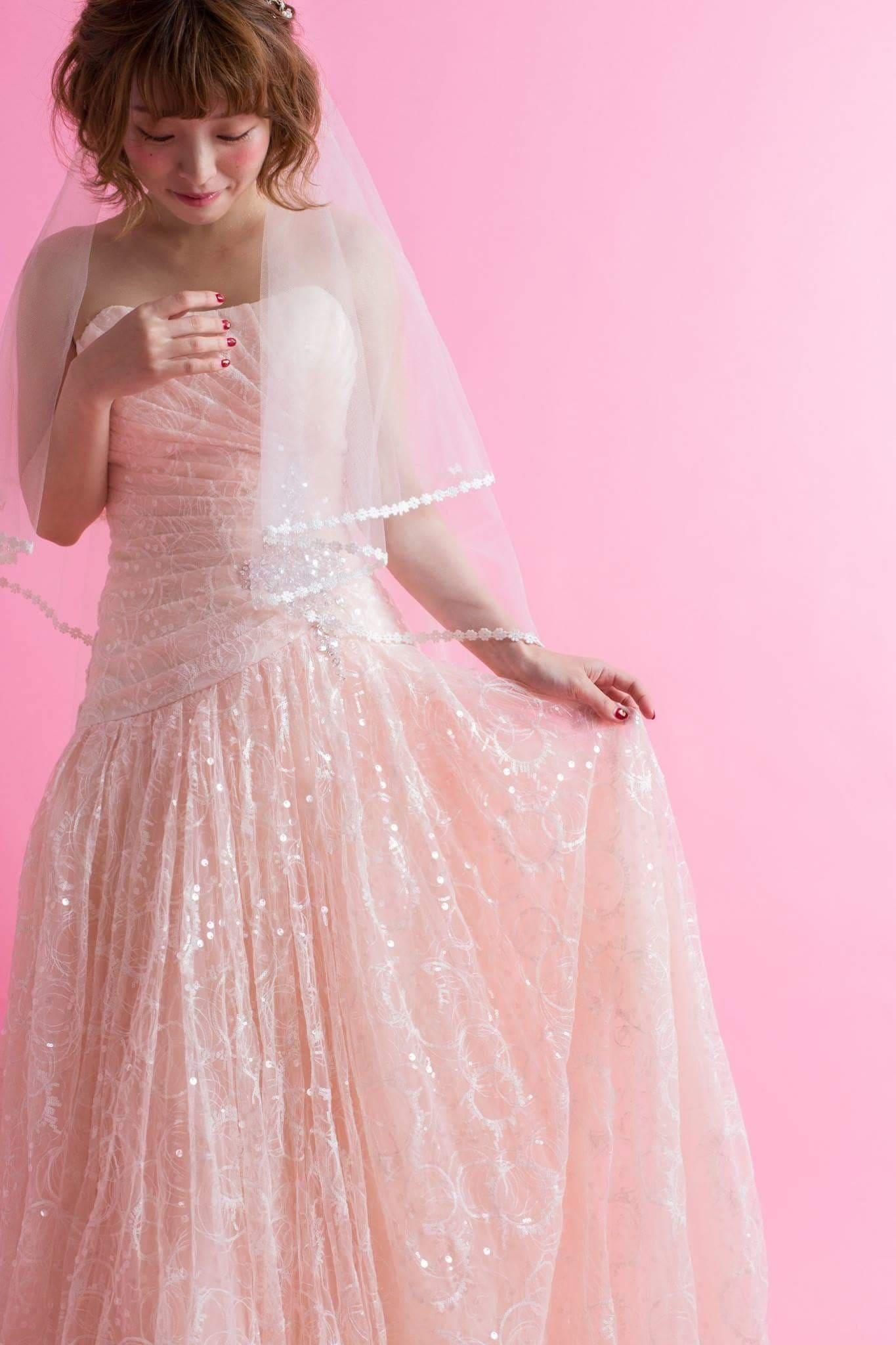レンタルウエディングドレス(シャーリーナチュラルピンク)のイメージその1