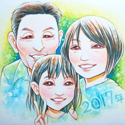 家族へ、友達へ サンクスボード 色紙サイズ 手描き 納期1ヶ月 3人 プラン