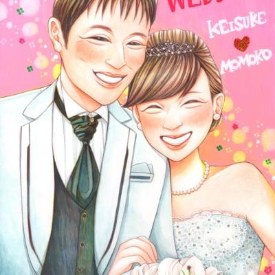 結婚式似顔絵ウェルカムボード A3サイズ 手描き 納期2ヶ月 プラン