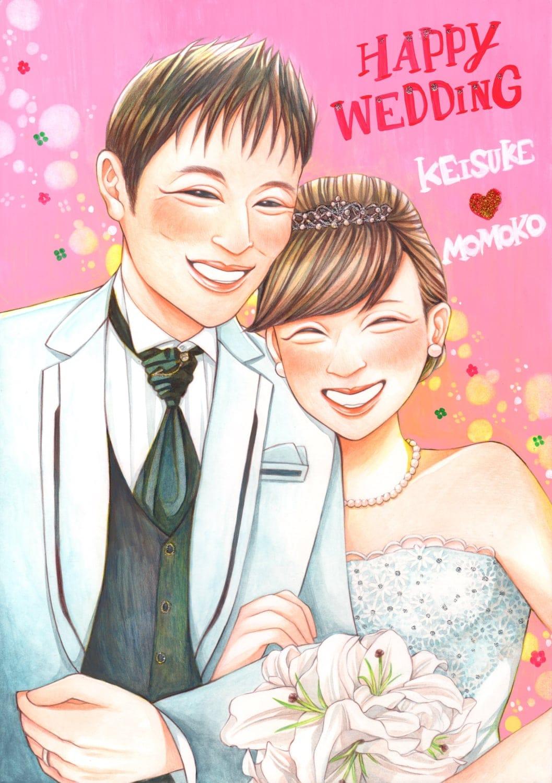 結婚式似顔絵ウェルカムボード ハガキサイズ 手描き 納期1ヶ月 プランのイメージその3