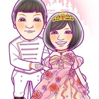 結婚式似顔絵ウェルカムボード ハガキサイズ 手描き 納期1ヶ月 プラン