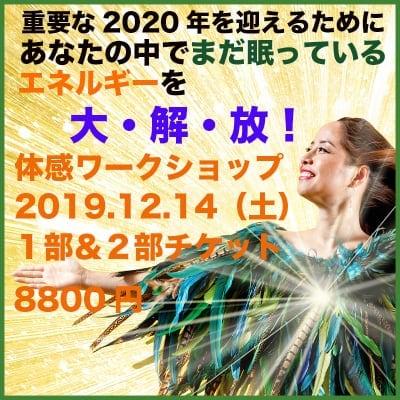 【現地参加のみ】重要な2020年を迎えるためのエネルギー大解放!体感イベント:12/14(土)【1部&2部】