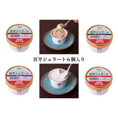 宮平ジェラート6個入(ミルク×2、ダークチョコ×2、紅芋×1、黒糖×1)|低温殺菌「宮平牛乳」使用