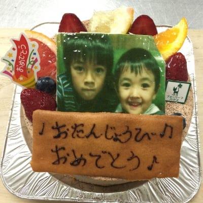 【2日前予約受付け】写真入り誕生日ケーキ、チョコ生クリーム5号