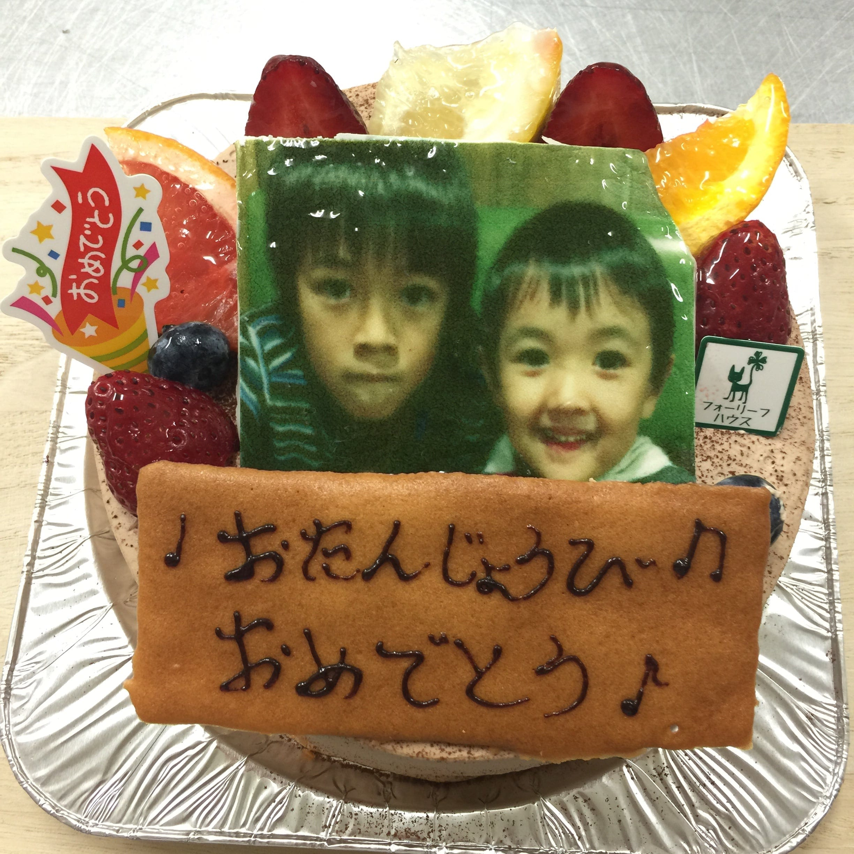 【3日前予約受付け】写真入り誕生日ケーキ、チョコ生クリーム7号のイメージその1