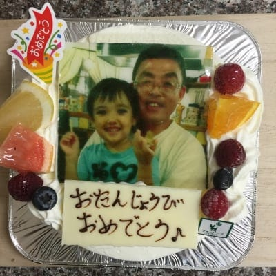 【T様、店頭受け取り専用】写真入り誕生日ケーキ生クリームスクェア24センチ