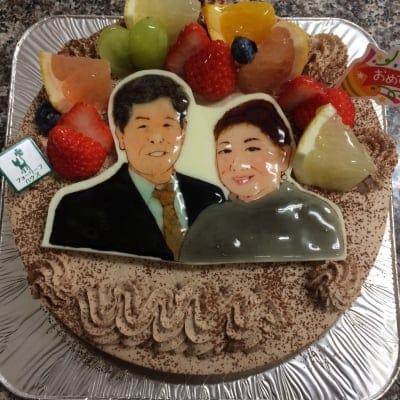 【1週間前予約】手描き 似顔絵 チョコ生クリームケーキ6号サイズ