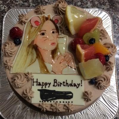 【1週間前予約】手描き 似顔絵 チョコ生クリームケーキ5号サイズ