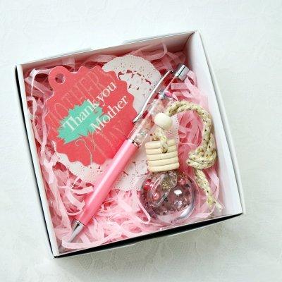 【送料無料】【母の日ギフト】ハーバリウムボールペン&ミニボトルチャームセット(ピンク系)