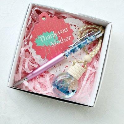 【送料無料】【母の日ギフト】ハーバリウムボールペン&ミニボトルチャームセット(ブルー系)