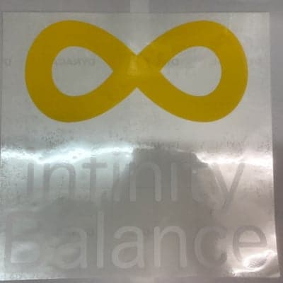 infinityBalanceカッティングステッカー正方形白文字/300mmX300mm