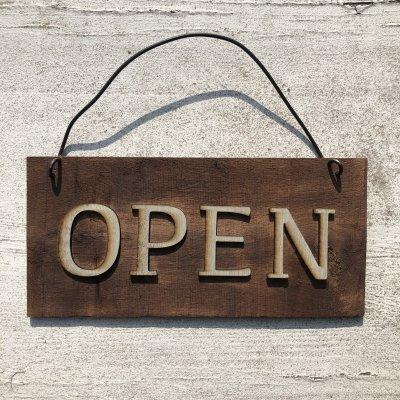 送料無料《看板》オープン&クローズ 木製プレート 高ポイント