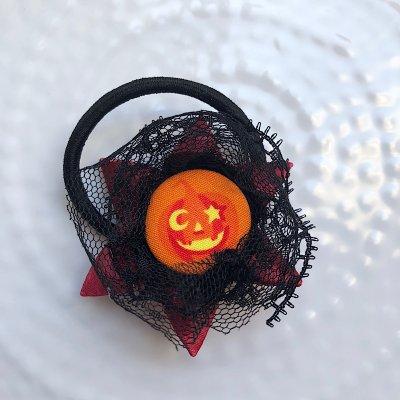 ハロウィン ロゼットヘアゴム (ワインレッドかぼちゃ)