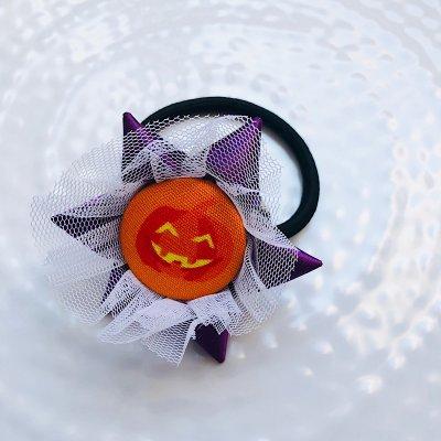 ハロウィン ロゼットヘアゴム (パープルかぼちゃ)