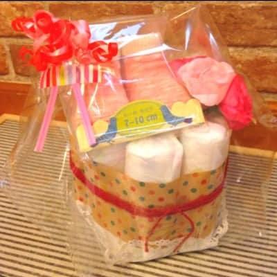 【出産祝い】オムツケーキ&お名前はんこセット くっきー☆はっぴー