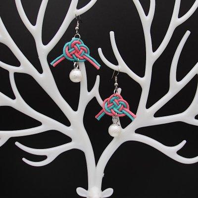 香るピアス/イヤリング/アロマコード/2色編み