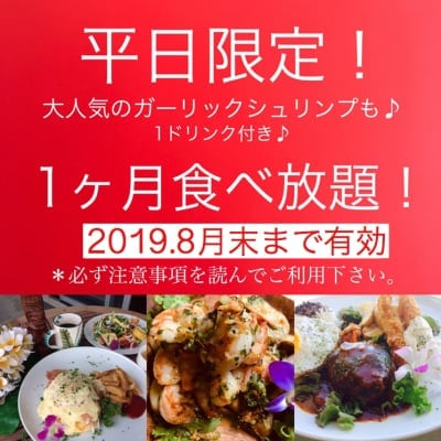 「Hawaiian Cafe Dining KOA」お得なウェブチケット 2019年8月末まで有効・平日限定1か月定額制食べ放題チケット15980円(定期便13980円)