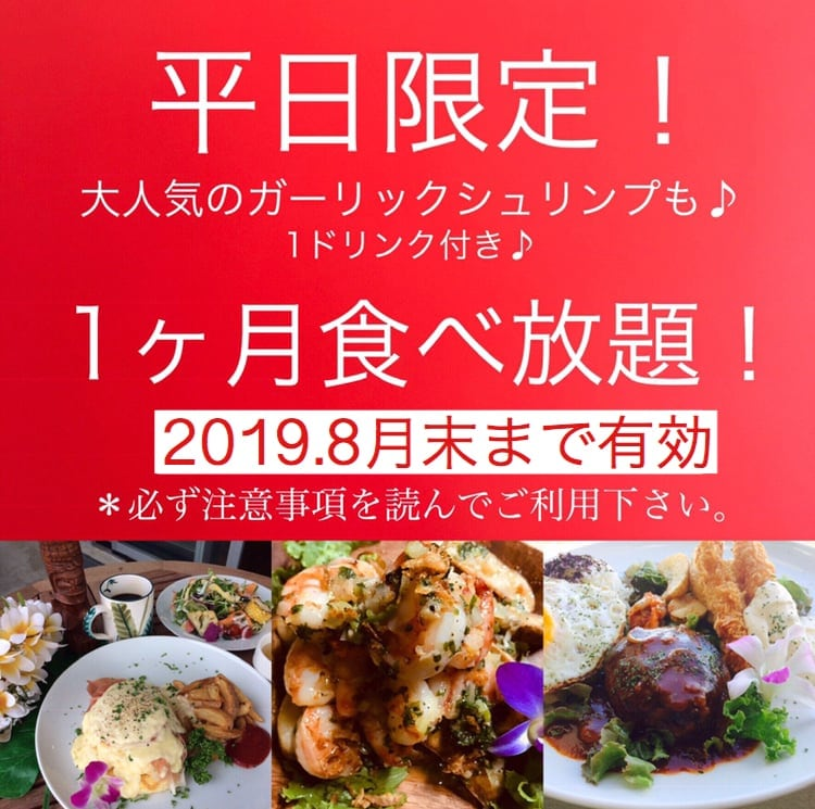 「Hawaiian Cafe Dining KOA」お得なウェブチケット 2019年8月末まで有効・平日限定1か月定額制食べ放題チケット15980円(定期便13980円)のイメージその1