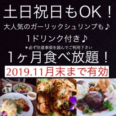 Hawaiian Cafe Dining KOA」お得なウェブチケット1か月定額制食べ放題チケット19980円(定期便15980円)