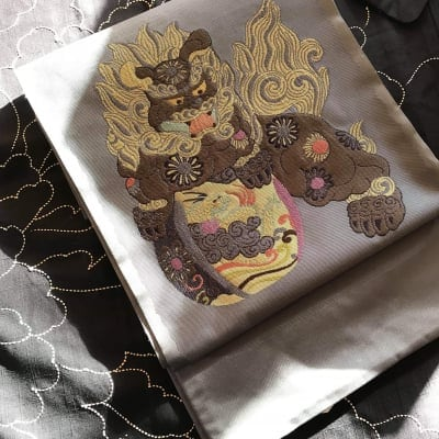 唐獅子の袋帯