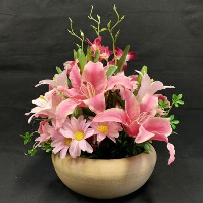 《送料無料》【造花】ピンクのカサブランカのアレンジ/ok-0047