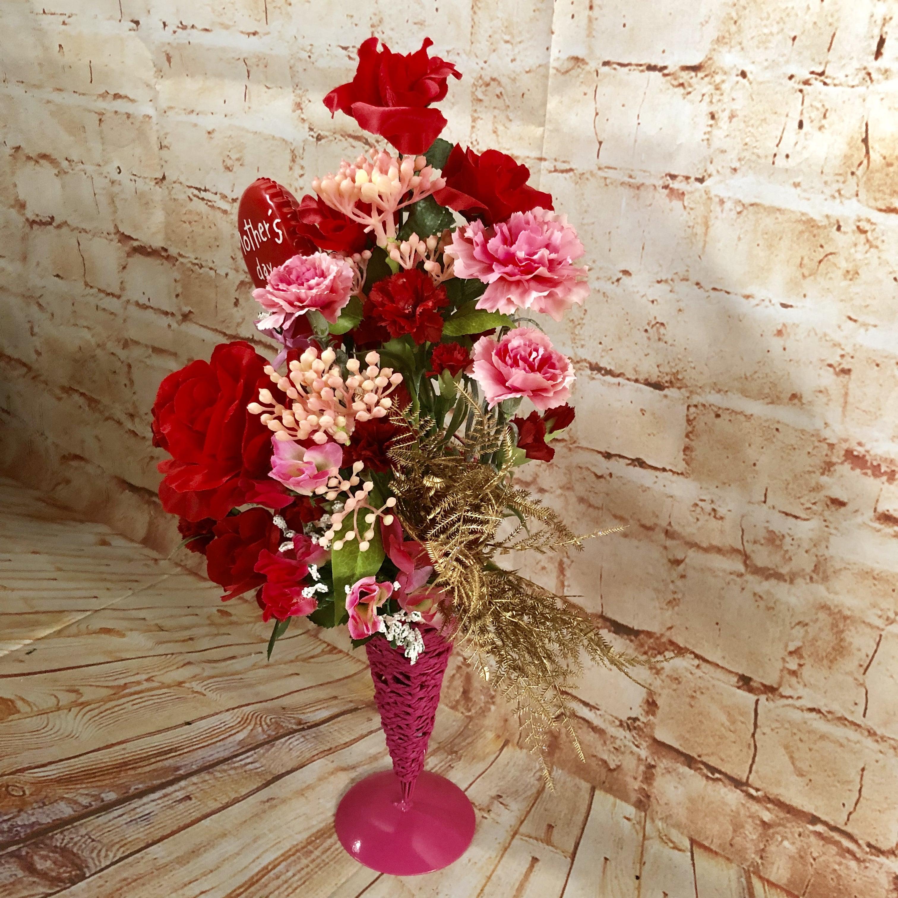 【店頭引取り専用】数量限定 母の日カーネーションアレンジ/プレゼント/ピンク/枯れないお花造花/プレゼントに喜ばれる/大切な人へのプレゼント/贈答用/特別なプレゼント/形に残る/人とは違う物がいい/母-1のイメージその3