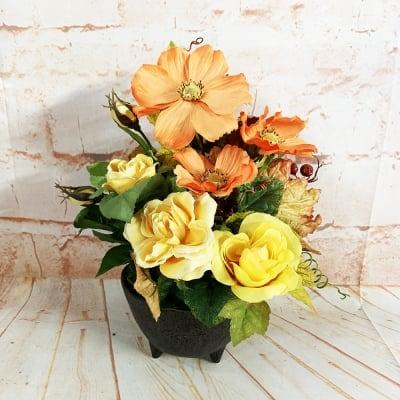 限定数1/リユース/爽やかなオレンジのコスモスと黄色いバラの小さなかわいいアレンジメントフラワー/置き74