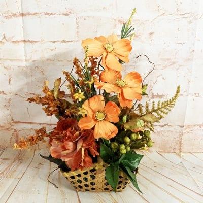 《送料無料》【造花】オレンジのコスモスの秋アレンジ/ok-0076