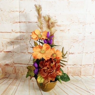 限定数1/リユース/爽やかなオレンジのコスモスとすすきの小さなかわいいアレンジメントフラワー/置き77