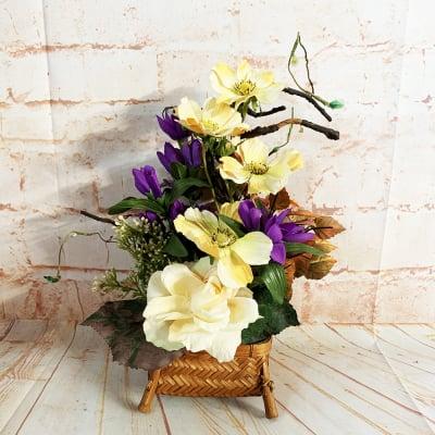 【季節のアレンジメント・秋】黄色いコスモスとバラの小さなかわいいアレンジメントフラワー/置き81