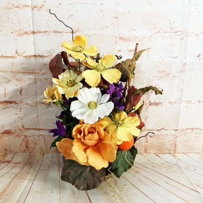 《送料無料》【造花】コスモスとバラの秋アレンジ/ok-0082