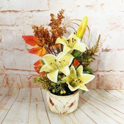 《送料無料》【造花】黄色いリリーの秋アレンジ/ok-0085
