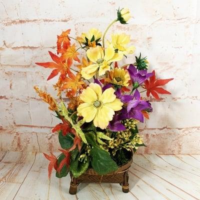 《送料無料》【造花】コスモスと紅葉の秋のアレンジ/ok-0088