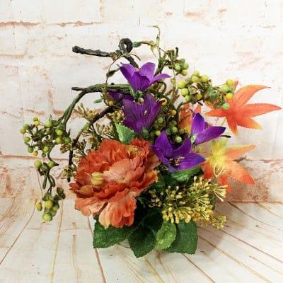 《送料無料》【造花】紅葉とキキョーの秋のアレンジ/ok-0092