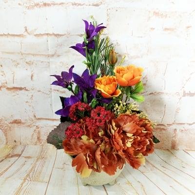 《送料無料》【造花】ピオニーとリンドウの秋のアレンジ/ok-0094