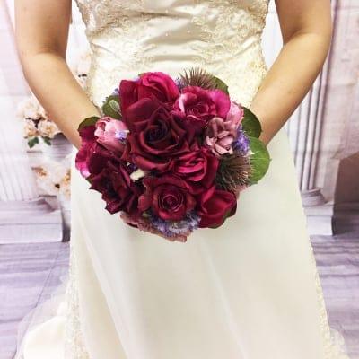 【造花ウェディングブーケ】赤いバラのブライダルブーケ/ブートニアセット/bq-0034
