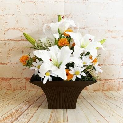 《送料無料》【造花】開店祝い/新築祝い/お祝いプレゼント/カサブランカのアレンジ/ok-0098