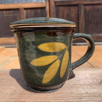 インド 蓋と茶こし付きマグカップ(緑色)