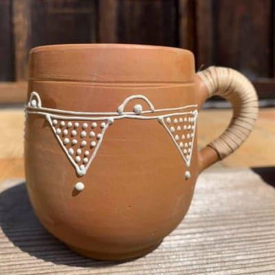 【売切れました】インド イッチン模様 素焼きのカップ A