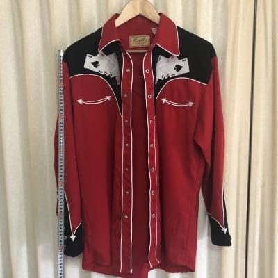 ウェスタンシャツ 赤黒トランプ型Scully Mサイズ中古 USA